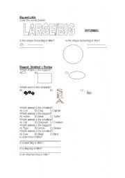 English worksheet: Size worksheet