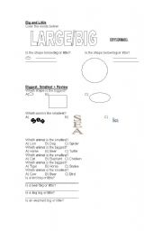 English Worksheets: Size worksheet