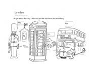 English Worksheet: london colouring worksheet for small children