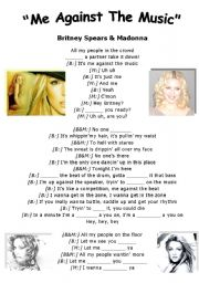 English Worksheet: Britney Spears & Madonna  Me against the music