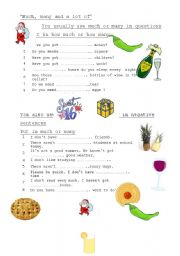 English Worksheet: much -many-a lot of