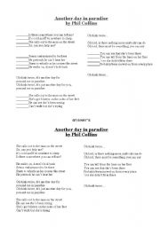 English Worksheets: activity on the song Another day in paradise, by Phil Collins