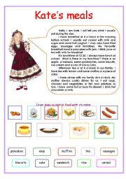 English Worksheet: Kate�s meals