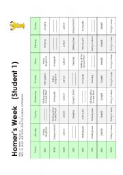 English Worksheet: Homer�s Schedule