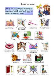 English Worksheet: rules at home