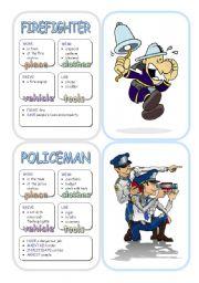English Worksheet: Job Cards - Set 1