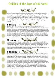 English Worksheet: Origins of the days of the week