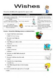 English Worksheet: EXPRESSING WISHES