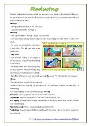English Worksheets: Environment: reducing