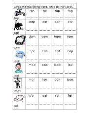 English Worksheets: Preliteracy: Matching words
