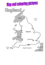 English Worksheet: Map of England and colouring pages ( 5)