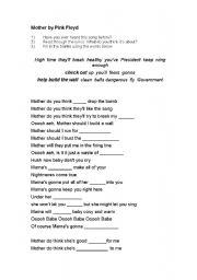 English Worksheet: Mother - Pink Floyd (fill in the blank lyrics)