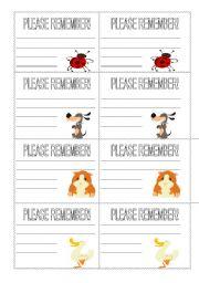 English Worksheets: reminders