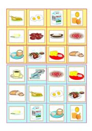 English Worksheet: Everyday food - bingo cards part I