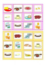 English Worksheet: Everyday food - bingo cards part II