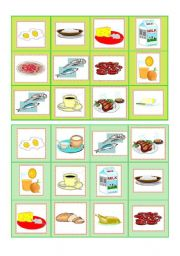 English Worksheet: Everyday food - bingo cards part III