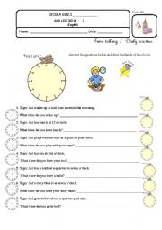 English Worksheets: Our daily routine, Tiger Aki and me