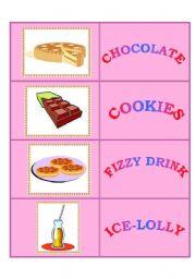 English Worksheet: Junk Food - domino set