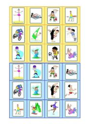 English Worksheets: Sports - bingo cards - part I