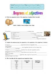 English Worksheet: Degrees of adjectives