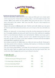 English Worksheets: Reading comprehension- School days