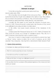 English Worksheets: animals in danger