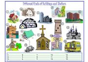 English Worksheet: Buildings and Shelters Fill in the Blanks