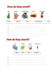 English Worksheet: How do these things smell, sound, look, taste and feel? 2/2