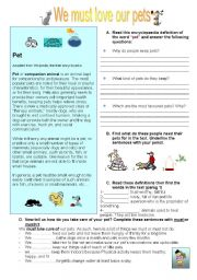 English Worksheet: we must love our pets