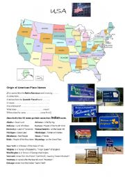 English worksheet: USA map and origin of place names