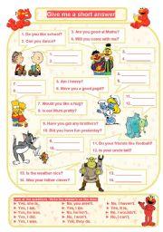 English Worksheets: SHORT ANSWERS