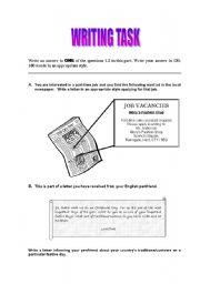 English Worksheets: Writing task