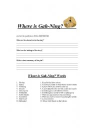 English Worksheets: Where is Gahning?