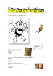 English Worksheets: Bee movie activities