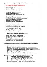 English Worksheet: my heart will go on ( Celion Dion )