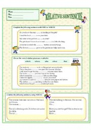 English Worksheet: RELATIVE SENTENCES