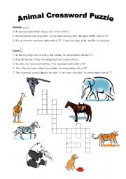English Worksheets: Animals Crossword Puzzle