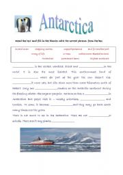 English Worksheets: Antarctica- reading comprehension