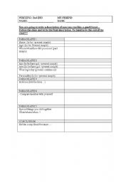 English Worksheets: personal description -writing guide