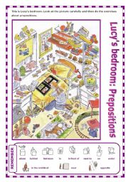 English Worksheets: Describing Lucy´s bedroom: Prepositions