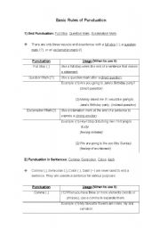 English Worksheet: Punctuation Rules