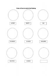 English Worksheets: Draw the Face to match the Feeling