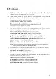 Cleft Sentences (Adding Emphasis) + Exercises