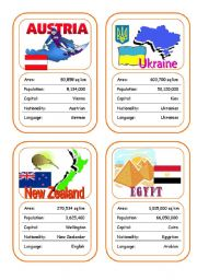 English Worksheet: Countries Card Game (Part 6 - additional)