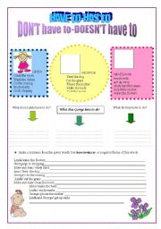 English Worksheet: have to- has to          don�t have to-doesn�t have to