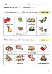 English Worksheet: Shopping 2 - how much is it?