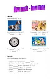 English Worksheets: How much, How many