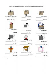 prepositions :In, on under worksheet