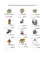 English Worksheet: prepositions :In, on under worksheet