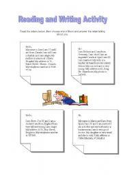 English Worksheets: Reading and writing activity